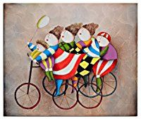 Raybre Art® 50 x 60 cm Cuadros en Lienzo al óleo 100% Pintados a Mano - Cuadros Abstractos Modernos Baratos - Niños Dibujos Lindos Mono para hogar decorativos Arte Pared Dormitorio Infantil, Sin bastidor (Bicicleta Sombrero rojo)