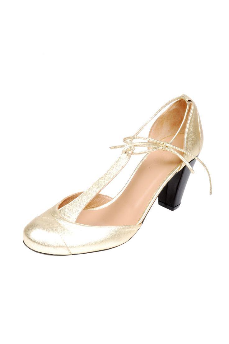 gold leather tstrap heel.