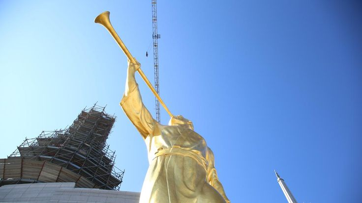 The Rome Italy Temple, currently under construction, received an angel Moroni statue Saturday, a sign that the temple is progressing toward completion.