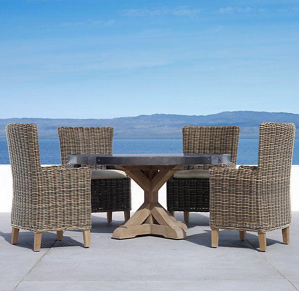 "60"" Concrete & Teak Round Dining Table. love."