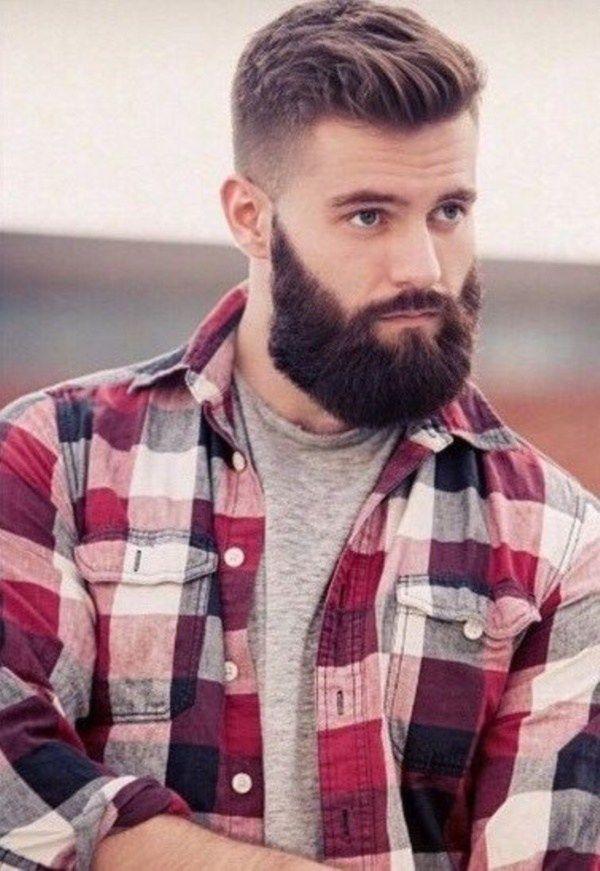 short undercut hairstyle with long beard