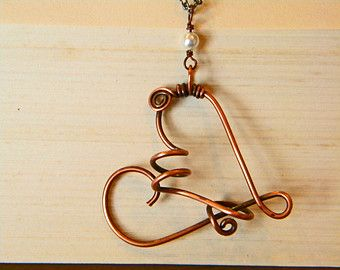 Herz Halskette, Draht-Arbeit-Herz-Halskette, Damen Herz-Halskette, Serendipity Schmuck, lange Herz Halskette, handgefertigten Schmuck