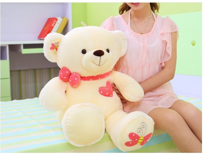 big lovely plush beige teddy bear toy cute butterfly teddy bear doll gift about 80cm //Price: $US $50.39 & FREE Shipping //     #toyz24