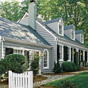 grey blue house: Grey House, Cape Cod Style, House Ideas, Capes, Dream House, Cape Cod Houses, Exterior Color, Homes
