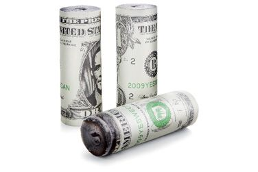 "Burn baby Burn!  Start your fire with these rolls of $1 bills made with recycled newspapers and slow-burning wax so they stay lit until the firewood catches.   Perfect for camp fires, bonfires, fire places, and barbecues. Measures 4"" tall. Box of 3 firestarters."