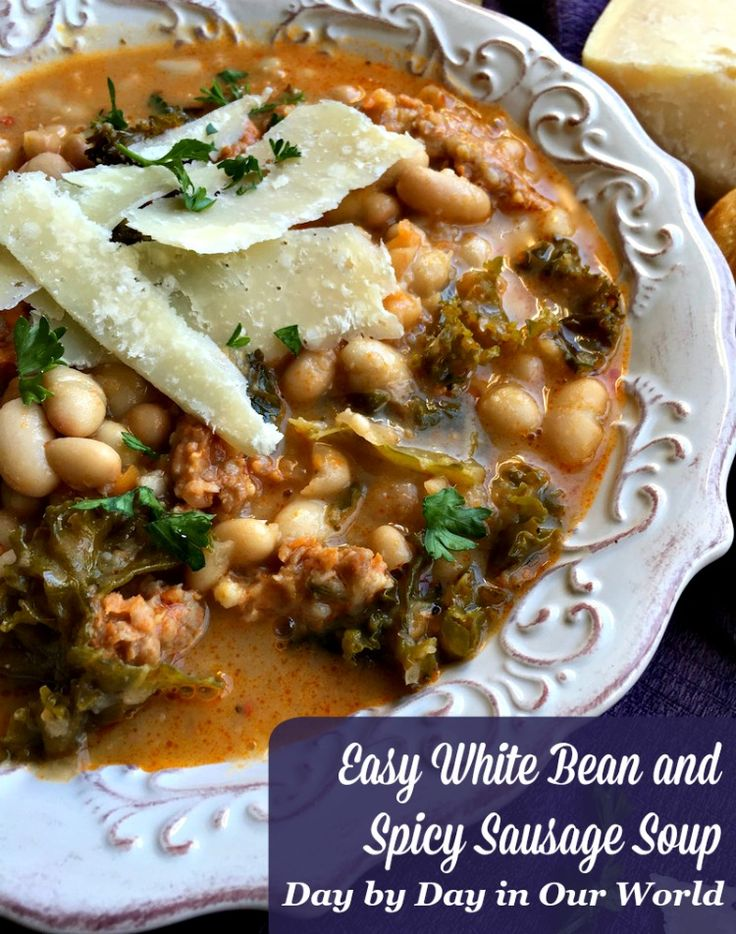 Want some comfort food that warms you up? Try this Easy White Bean and Spicy Sausage Soup! It is a quick dinner option for the family.