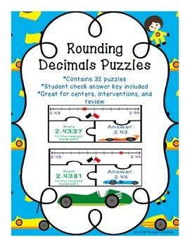 Rounding Decimals: Rounding Decimals Puzzles common core 5.NBT.A.4 (5.NBT.4), is a great rounding decimals resource for review, math centers, group work and for math interventions.