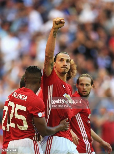 Zlatan Ibrahimovic of Manchester United celebrates after scoring his sides second goal during The FA Community Shield match…