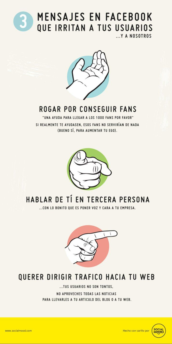 3 tipos de mensajes que irritan a tus usuarios de FaceBook #infografia #infographic #socialmedia