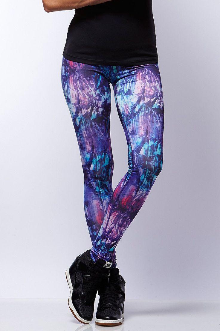 Bayse - Blue Womens Kaleidoscope Compression Gym Tights