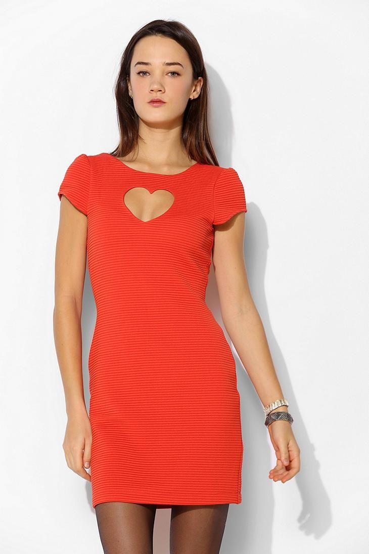 Cooperative Heart Cutout Textured Knit Dress
