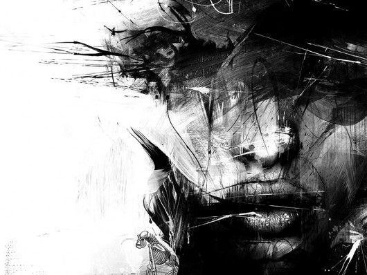 inkgirl: Face, Inspiration, Russmills, Illustrations, Black And White, Artist, Painting