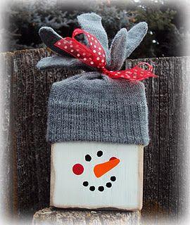 Glove and Block Snowman