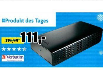 """Conrad: Verbatim-Festplatte mit vier TByte für 105,45 Euro frei aus https://www.discountfan.de/artikel/technik_und_haushalt/conrad-verbatim-festplatte-mit-vier-tbyte-fuer-105-45-euro-frei-aus.php Als """"Angebot des Tages"""" gibt es heute bei Conrad die Verbatim Store 'n' Save SuperSpeed mit vier TByte für 111 Euro. Bei Bezahlung per Paypal entfallen die Versandkosten, obendrein erhalten Discountfans mit dem Newsletter-Gutschein 5,55 Euro Rabatt. Conrad"""