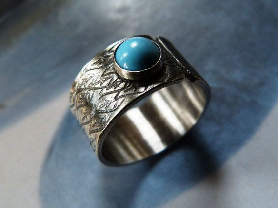 Turquoise silver ring rustic ring adjustable statement by Mirma