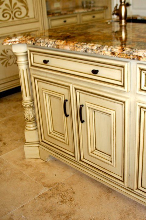 Glazed cream cabinets glazedcabinets afabulousfinish cabinets pinterest columns colors - How to glaze kitchen cabinets cream ...