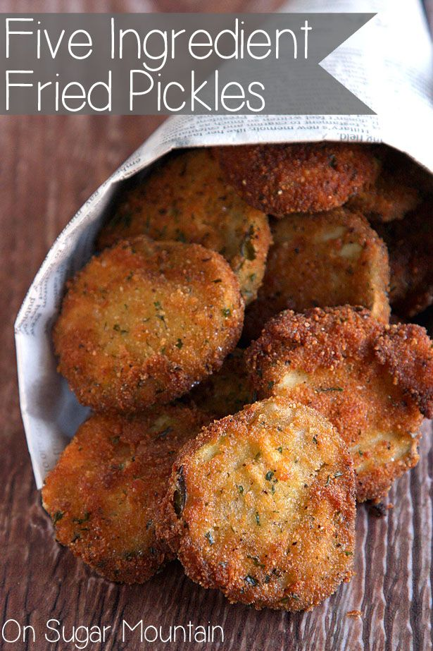 Five Ingredient Homemade Fried Pickles — Fried pickles take a mere 60-90 seconds to reach golden, crispy perfection, & the resulting flavor is out of this world. Crispy, crunchy exterior gives way to a perfectly intact sweet & sour pickle. Serve them with a bit of sriracha or even a horseradish sauce & you will be happy as a clam!