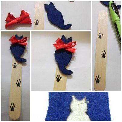 Keçeden kedili kitap ayracı yapımı.