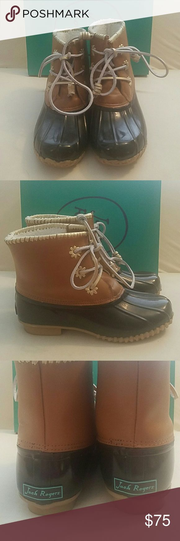 JACK ROGERS CHLOE BROWN Duck Boot 8 New in Box JACK ROGERS CHLOE dark brown duck boots size 8.  Have been tried on and worn around my house for about an hour.  SMOKE AND CAT FREE HOME! Jack Rogers Shoes Winter & Rain Boots