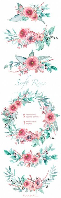 Soft Rose Watercolor Bouquets, Wreath hand painted clipart, floral wedding invite, greeting card, diy clip art, flowers, free commercial use