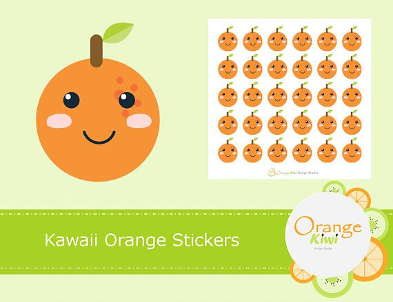 Kawaii Orange Stickers Oranges Kawaii Stickers Planner