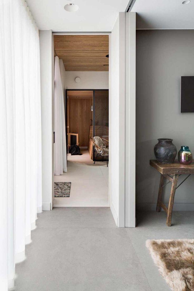 Love the sliding side door in this hallway