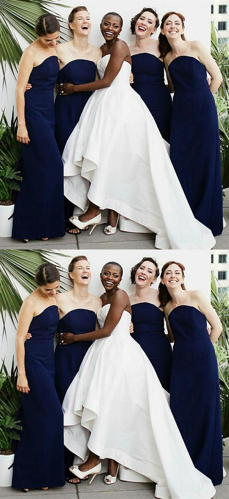 Dark blue wedding dress  Sheath Strapless Backless Long Dark Blue Bridesmaid Dress  Long