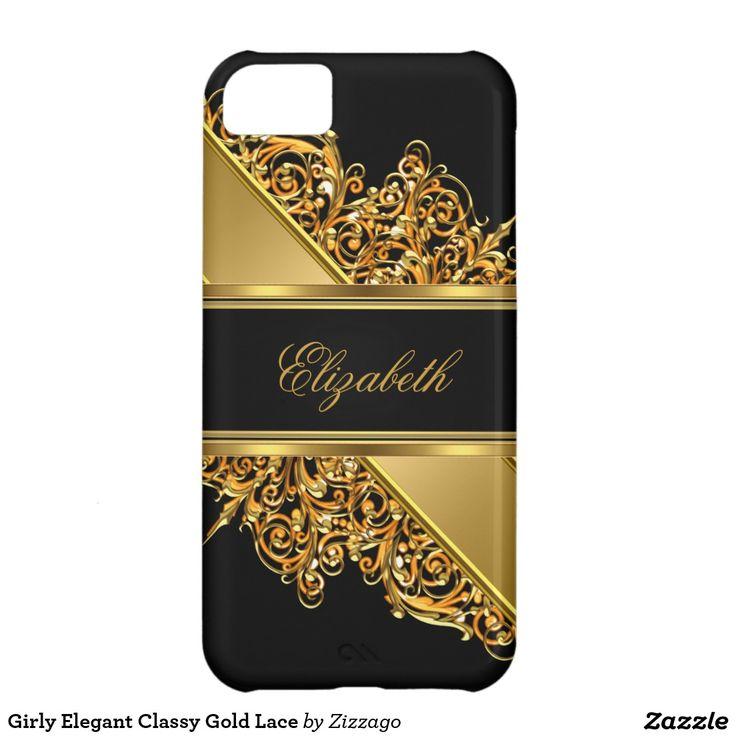 Girly Elegant Classy Gold Lace iPhone 5C Case