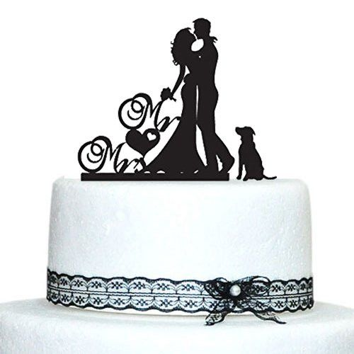 Romantic Engagement /Wedding Cake Topper Decoration with Dog Pet Puppy                                                                                                                                                                                 More