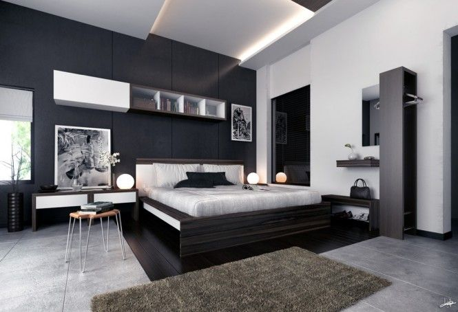 a cozy modern bedroom with black and white wallpaper, a white king mattress, brown carpet, a shelf hanging on the wall, two table nights, two beautiful night lamps, two beautiful pic