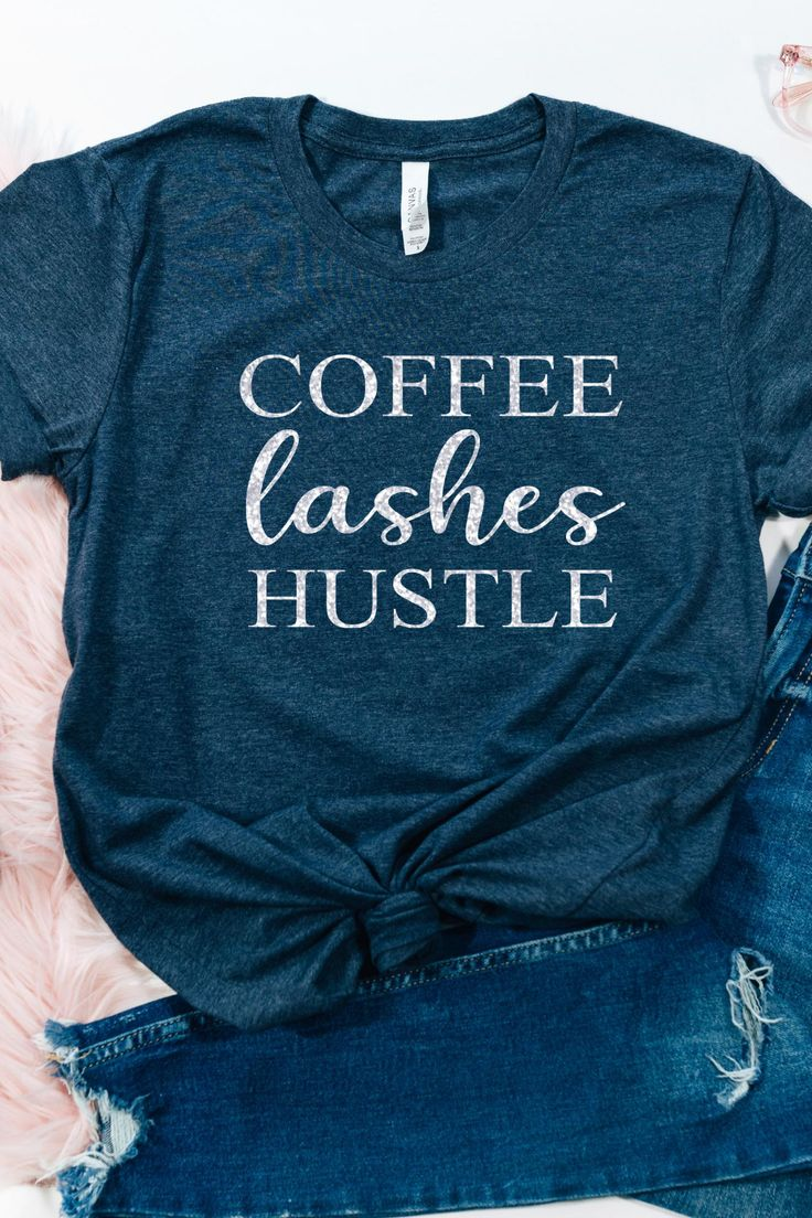 GLITTER Girl Boss Shirt, Coffee Lashes Hustle, Makeup