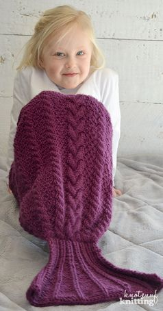 Ariel Mermaid Tail knitting pattern is a knitting pattern for a cable knit mermaid tail lap blanket! Cute knit mermaid tail for the little mermaid in your life! This knit mermaid tail blanket comes in sizes newborn to kids' size 12. This children's mermaid tail is fun to knit, and the kids will love it! Click through to get the pattern from KnotEnufKnitting.
