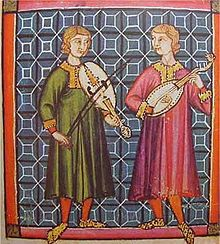 Musicians playing the Spanish vihuela, one with a bow, the other plucked by hand, in the Cantigas de Santa Maria of Alfonso X of Castile, 13th century.