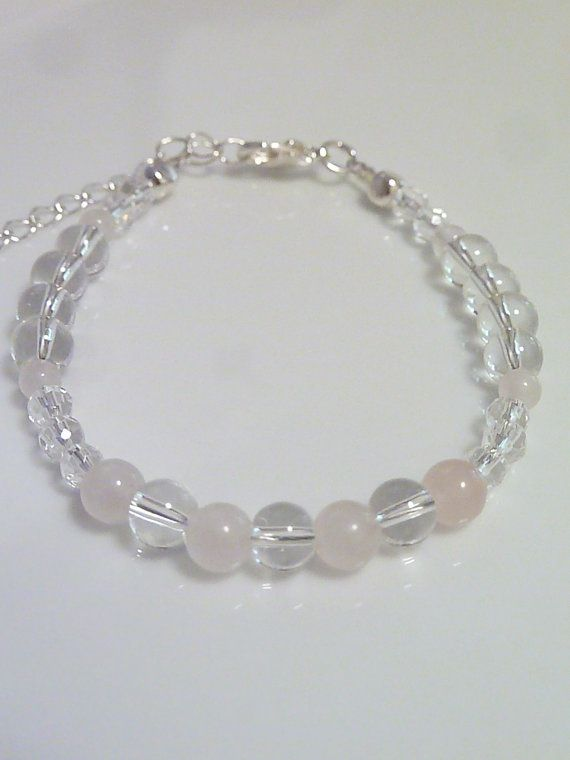 Clear Quartz and Rose Quartz bracelet by MystiqueCrystal on Etsy, $11.00