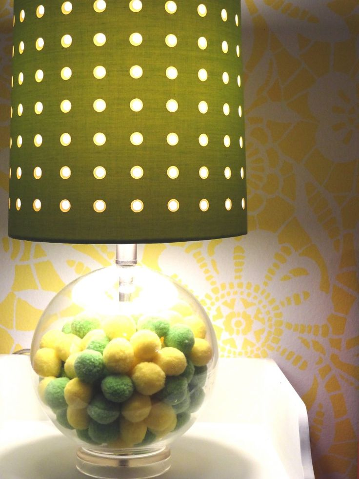 Super-fun lamp with green and yellow pompoms! #projectjunior