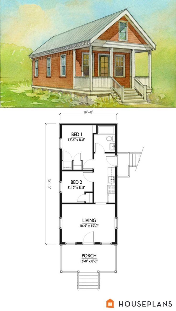 Small Katrina Cottage Floor Plan And Elevation 2 Br