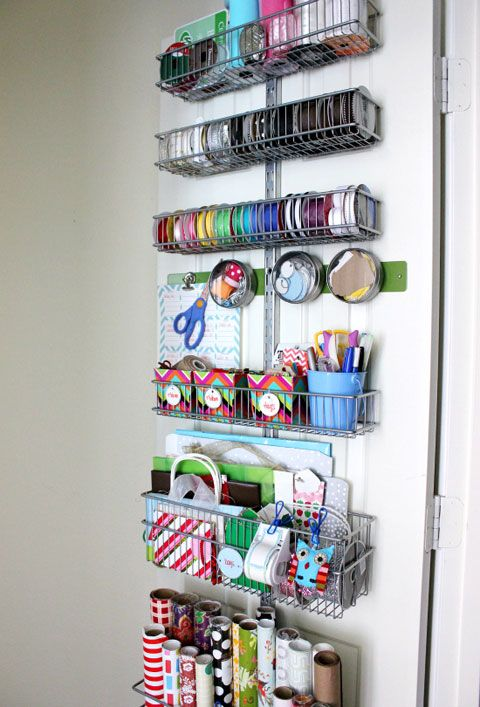 Organizing wrapping paper and ribbon