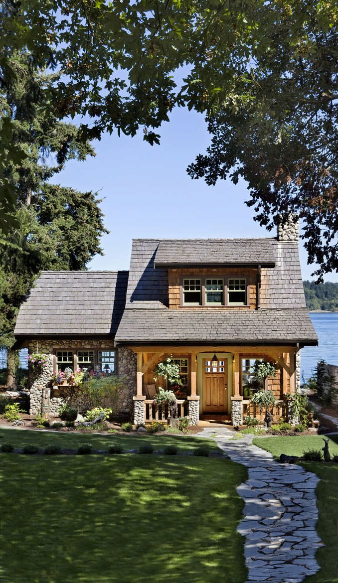 this cottage on the puget sound in washington is a beautiful example of