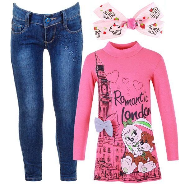 В чем пойти на прогулку или поехать в гости к бабушке? Конечно в модной тунике и практичных джинсах.