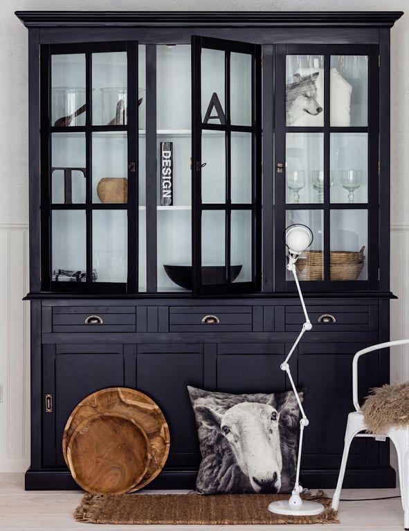 Vitrineskab Provence sort - sort vitrineskab hvid indvendig - Zanz furniture