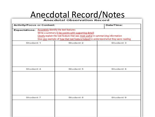 Image result for anecdotal notes template teachers