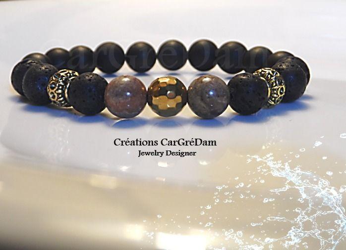 Bracelet tibétain homme jaspe onyx et pierres de lave  Bijoux pour hommes  par shamballa,s,cargredam1