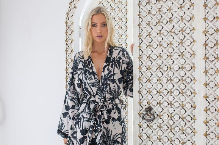 Neutral Palm cotton silk kimono robe by Louvelle. $150. Love this bone Inlay door!