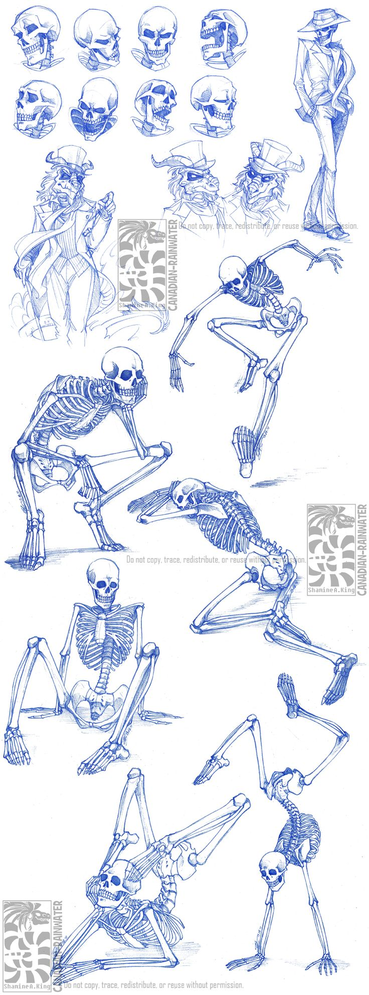 Skeletal Sketchdump by *Canadian-Rainwater on deviantART (looks like how I invisioned the character skullduggery!!!)