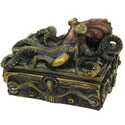 "Statue Octopus Steampunk Box Approx Dims: 5 1/2"" x 4 1/8"" x 3 1/2"" Material: Cold Cast Resin Description: Hand Painted"