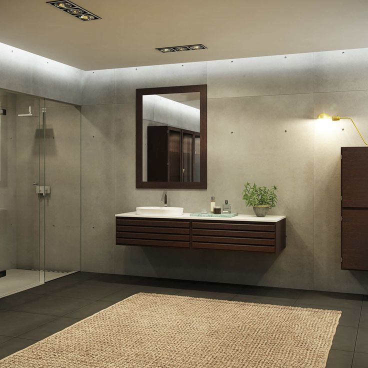 Klassisk, moderne baderom med elementer i røkt eik