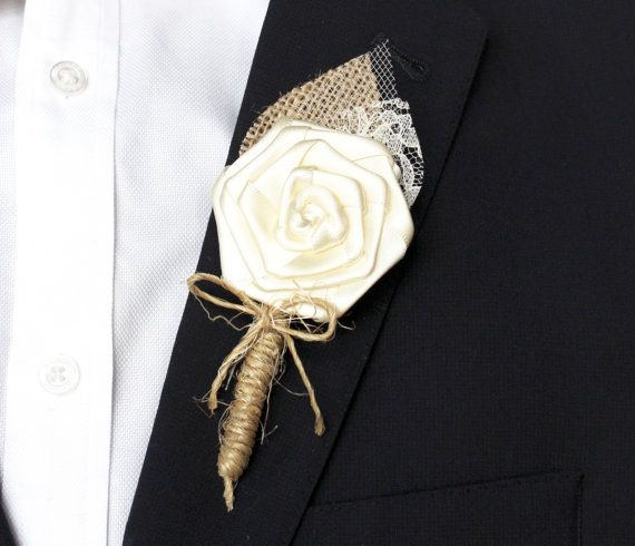 Rustic Wedding Boutonniere , Burlap and Lace Wedding Boutonniere , Grooms Ivory Rustc Boutonniere