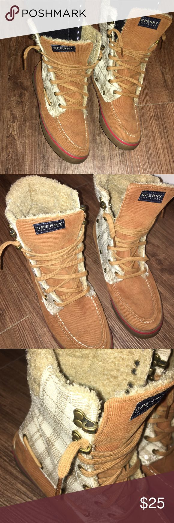 """Sperry Top-Sider Boot Sperry Top-Sider Boot Great condition, minimal wear!  Color: Tan, white Size: 6 1/2 Style: Tan corduroy bottom, white and tan plaid with sequence middle, cream """"wool like"""" top   Original price: $120 Poshmark listing: $25  Smoke free home! Questins please ask! 🙅🏼 trades ❤️ offers 👠👖👗 && ❤️ bundles Sperry Top-Sider Shoes Winter & Rain Boots"""
