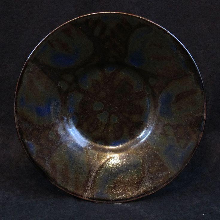 """Blue green butter dish. Wax resisted cobalt glaze over  tenmoku. 6"""" diameter"""