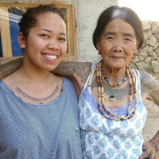 Weyn and Wang-Od at #Buscalan #Kalinga #WangOd is a 96-year old woman and the only remaining legit #mambabatok in her tribe. #TraditionalTattoo #Philippines #Art The tattoo she created was actually on my back. She passed the art of hand-tapped tattoo to her niece, Grace, who created the one on my chest. I can tell that she's very proud of her successor's work.